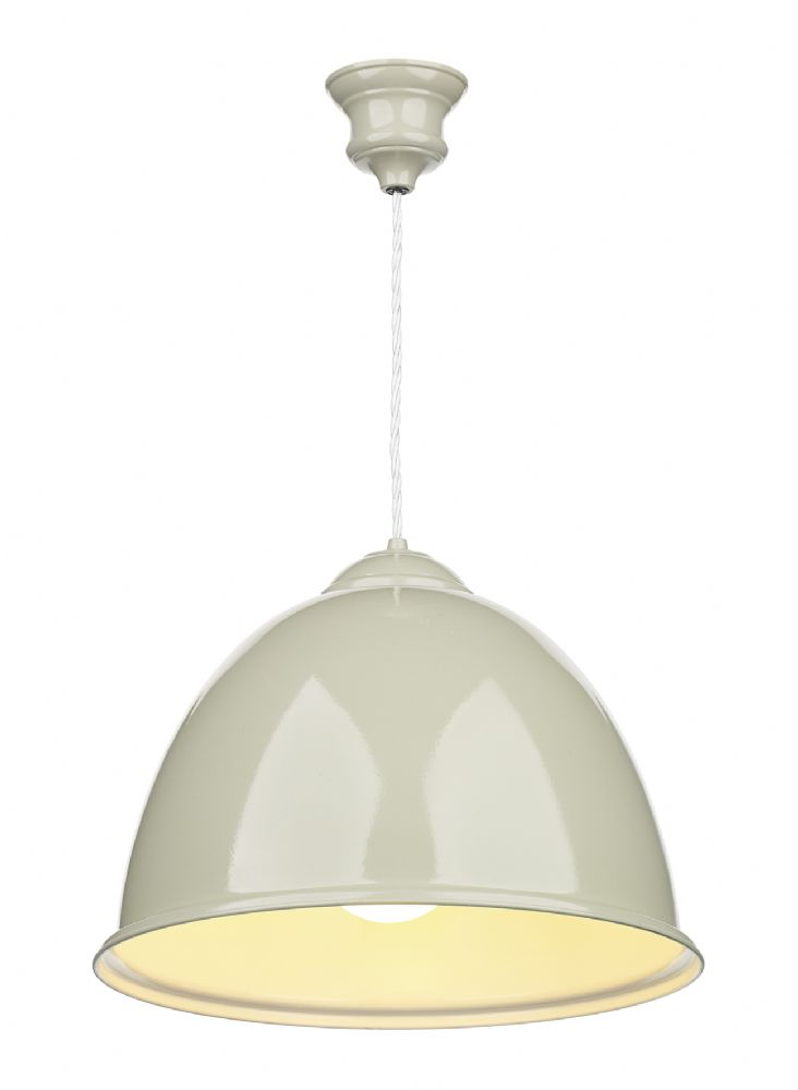 Euston 1 Light French Cream Pendant White Gloss Inner EUS012 (Class 2 Double Insulated)